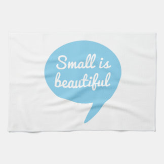 Small is beautiful text design blue speech bubble hand towel