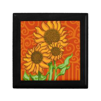 """Small Jewelry Box Sq. 5.125""""/Sunflower Trio"""