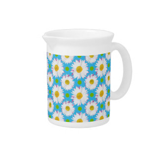 Small Jug or Pitcher: Daisies, Polkas, Turquoise Drink Pitcher