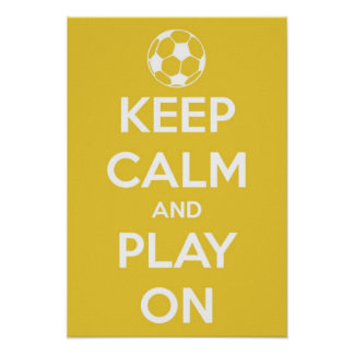 Small Keep Calm and Play On Yellow Poster