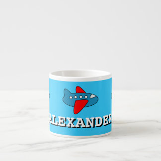 Small kids mug | personalized name and toy plane 6 oz ceramic espresso cup