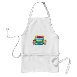 Small kids with a bag adult apron