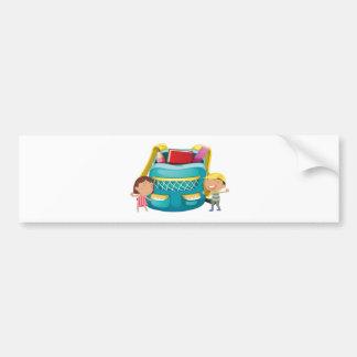 Small kids with a bag car bumper sticker