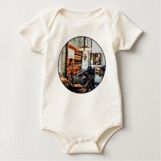 Small Lathe in Machine Shop Baby Bodysuit