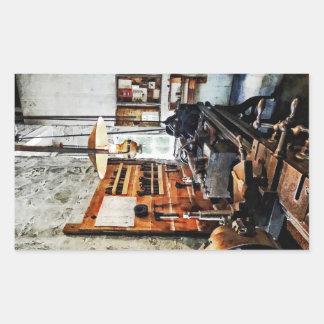 Small Lathe in Machine Shop Rectangular Stickers