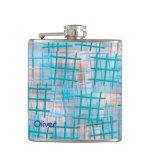 small lattice aqua hip flasks