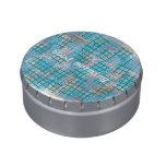 small lattice aqua jelly belly tins