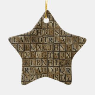 Small Letter press grunge Ceramic Ornament