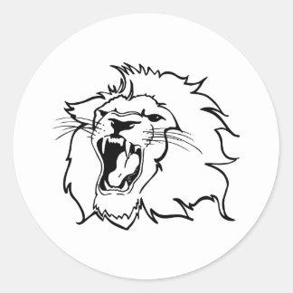 SMALL LION HEAD CLASSIC ROUND STICKER