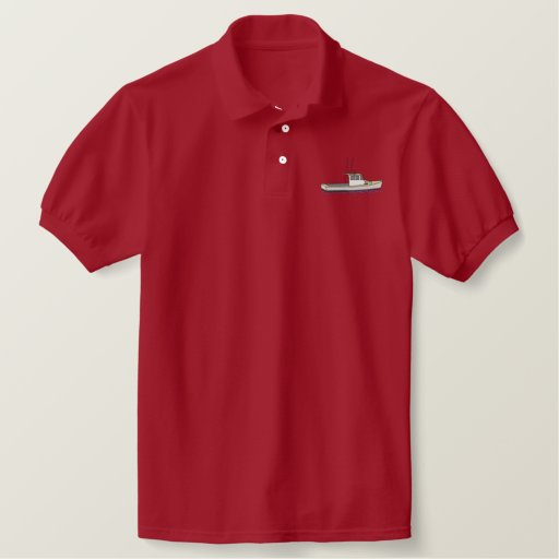 Small Lobster Boat Embroidered Polo Shirt