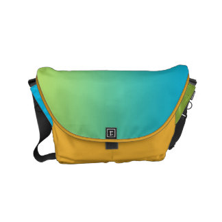 "Small Messenger Bag: ""BLUE GREEN OMBRE & SAFFRON"" Small Messenger Bag"