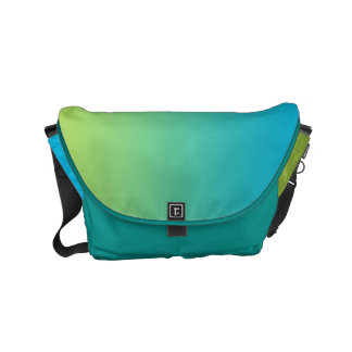 "Small Messenger Bag: ""BLUE & GREEN OMBRE"" Small Messenger Bag"