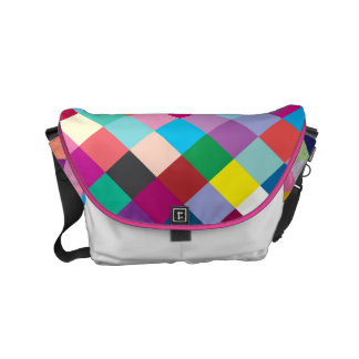 "Small Messenger Bag: ""MULTI COLORED GEOMETRIC"" Small Messenger Bag"