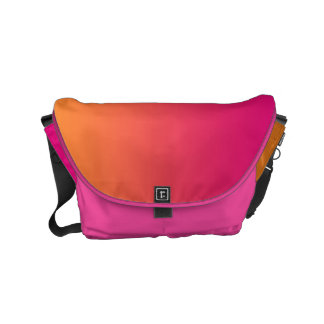 "Small Messenger Bag: ""PINK & ORANGE OMBRE"" Small Messenger Bag"