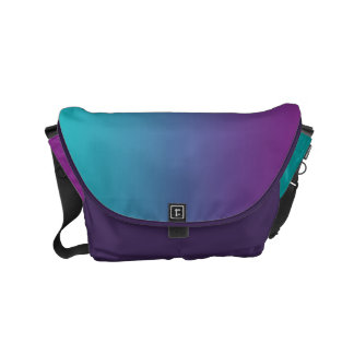 "Small Messenger Bag: ""PURPLE & TEAL OMBRE"" Small Messenger Bag"