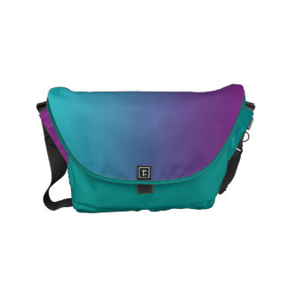 "Small Messenger Bag: ""TEAL & PURPLE OMBRE"" Small Messenger Bag"