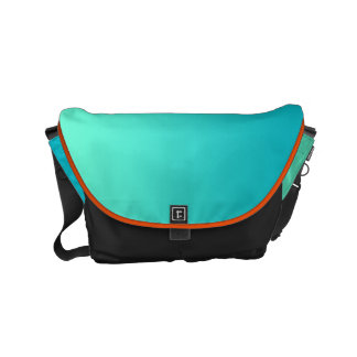 "Small Messenger Bag: ""TURQUOISE OMBRE & BLACK"" Small Messenger Bag"