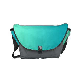 "Small Messenger Bag: ""TURQUOISE OMBRE & GRAY"" Small Messenger Bag"