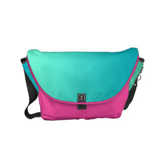 "Small Messenger Bag: ""TURQUOISE OMBRE & PINK"" Small Messenger Bag"