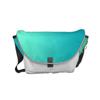 "Small Messenger Bag: ""TURQUOISE OMBRE & WHITE"" Small Messenger Bag"