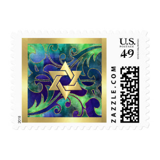 Small Mitzvah Purple Green Watercolor Gold Accents Postage
