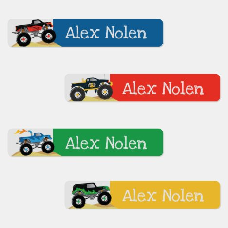 Small Monster Truck Kids Name Labels