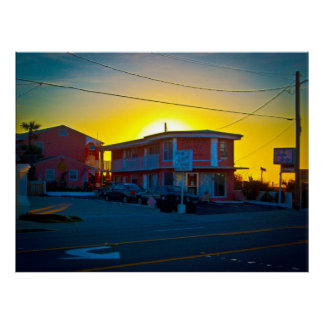 Small Motel On The Beach At Sunrise Poster