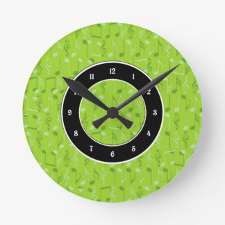 Small music notes round clock