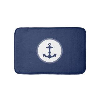 Small Navy Blue Anchor Silhouette Bathroom Mat