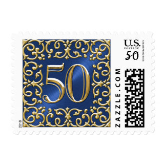 SMALL Navy Blue and Gold 50th Anniversary Postage