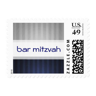 SMALL Navy Blue and Gray Stripe Bar Mitzvah Postage