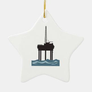 SMALL OFFSHORE OIL RIG CERAMIC ORNAMENT