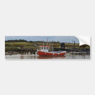 Small Orange Fishing Boat Bumper Sticker