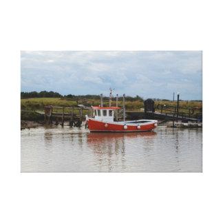 Small Orange Fishing Boat Canvas