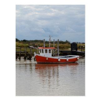 Small Orange Fishing Boat Postcard