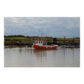 Small Orange Fishing Boat Poster
