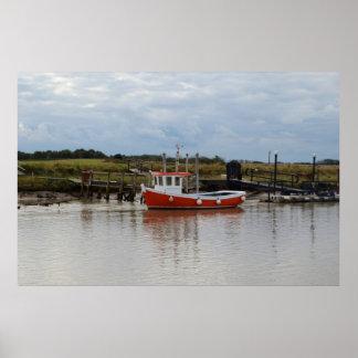 Small Orange Fishing Boat Poster