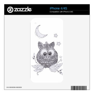 Small owl with moon decal for iPhone 4