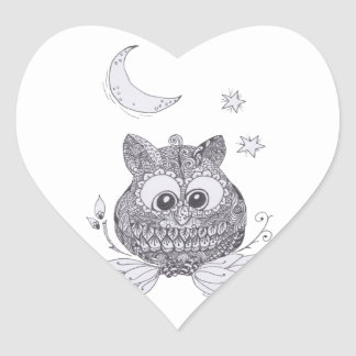 Small owl with moon heart sticker