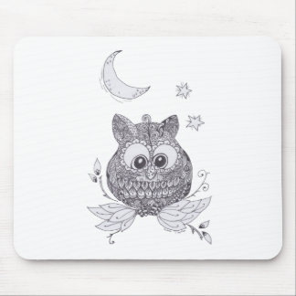 Small owl with moon mouse pad