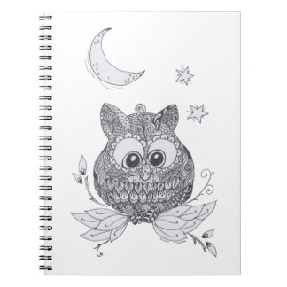 Small owl with moon note books