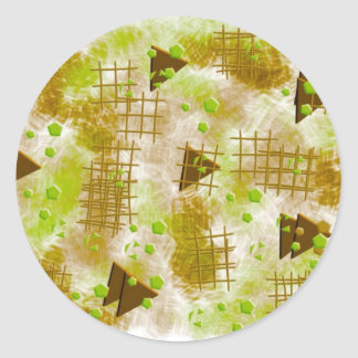 small particles,green classic round sticker