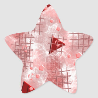 small particles,red star sticker