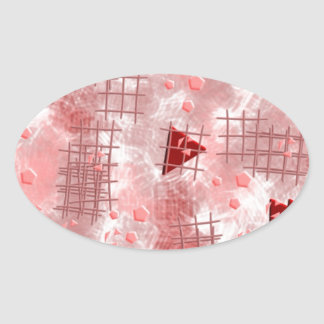 small particles,red oval sticker