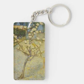 Small pear tree in blossom rectangle acrylic keychain