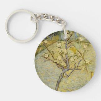 Small pear tree in blossom acrylic key chain