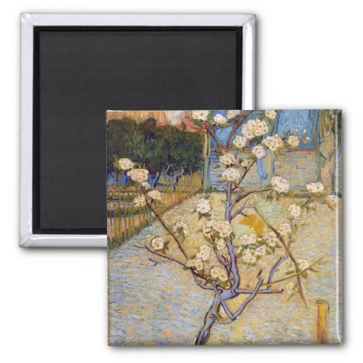 Small Pear Tree in Blossom, Vincent Van Gogh 2 Inch Square Magnet