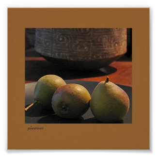Small pears with Caddo pot Posters