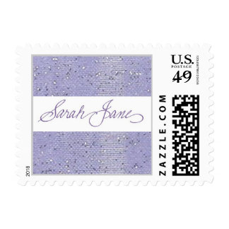 small periwinkle sparkly Sarah Jane stamp