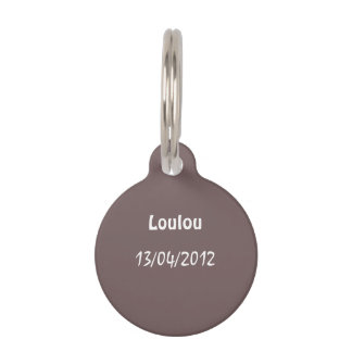 Small Pet Tag Pattes Blanche/Marron